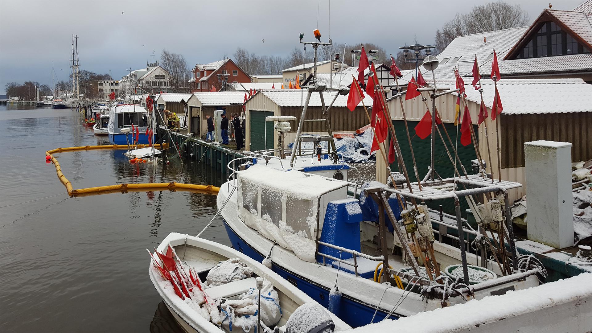 Fischkutter in Greifswald-Wieck gesunken