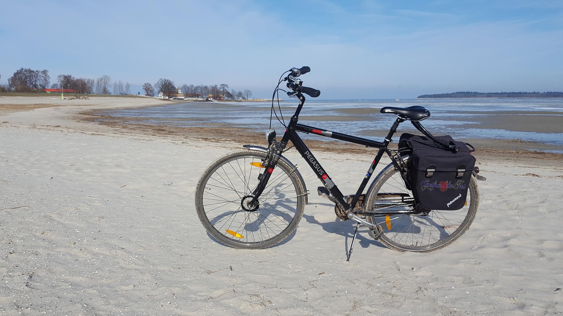 sonniger Winternachmittag am Strand in Greifswald-Eldena