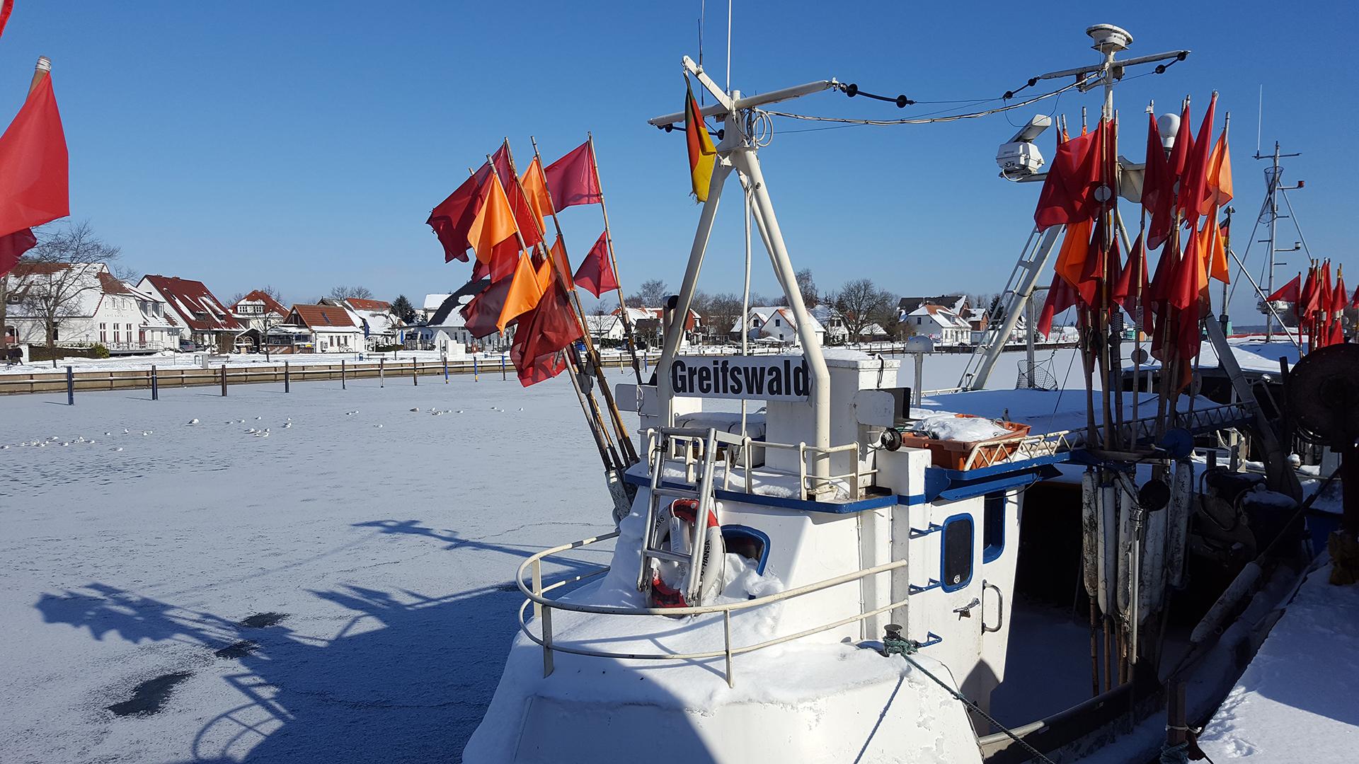 Winter an der Brücke in Greifswald-Wieck
