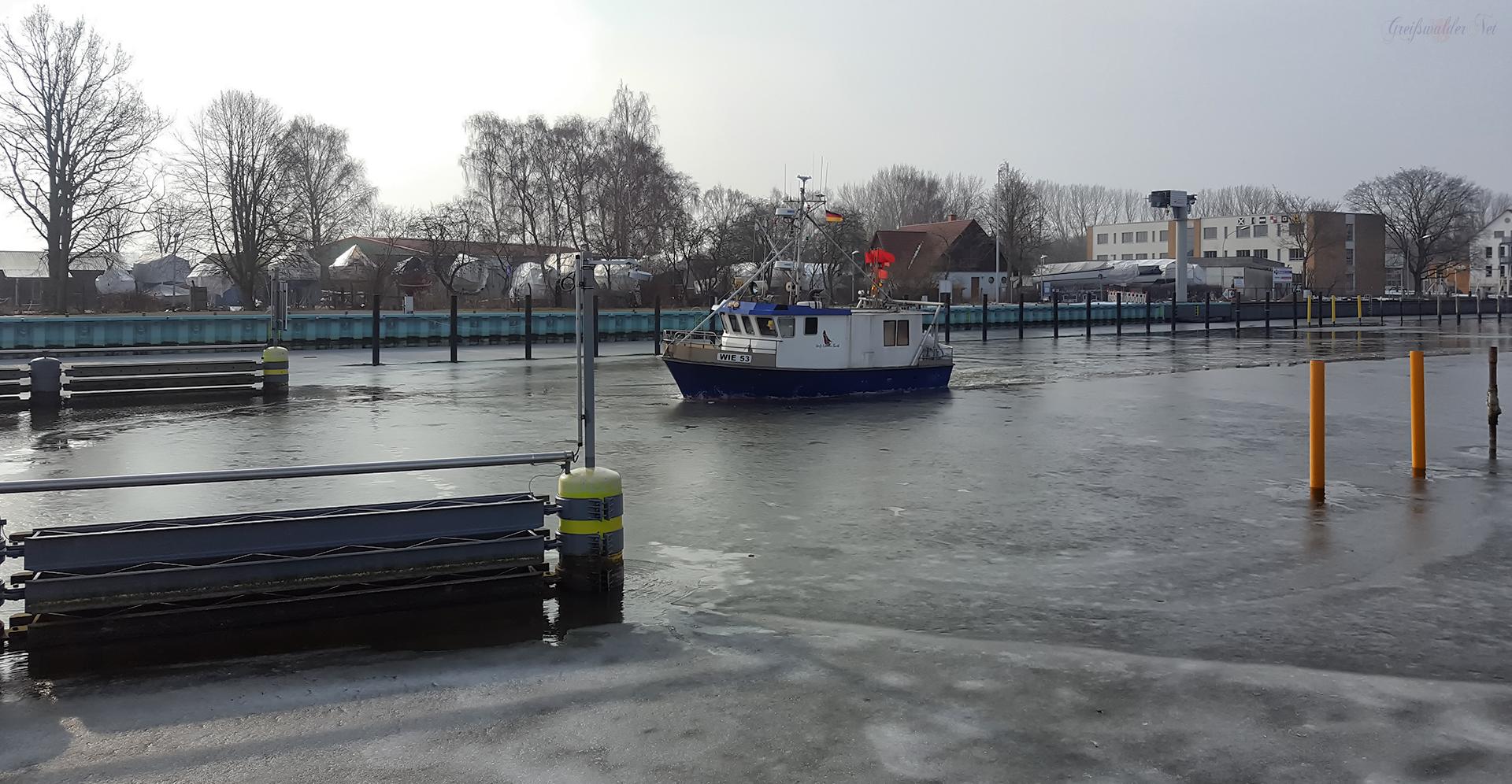 Fischkutter bricht das Eis auf dem Ryck in Greifswald-Wieck