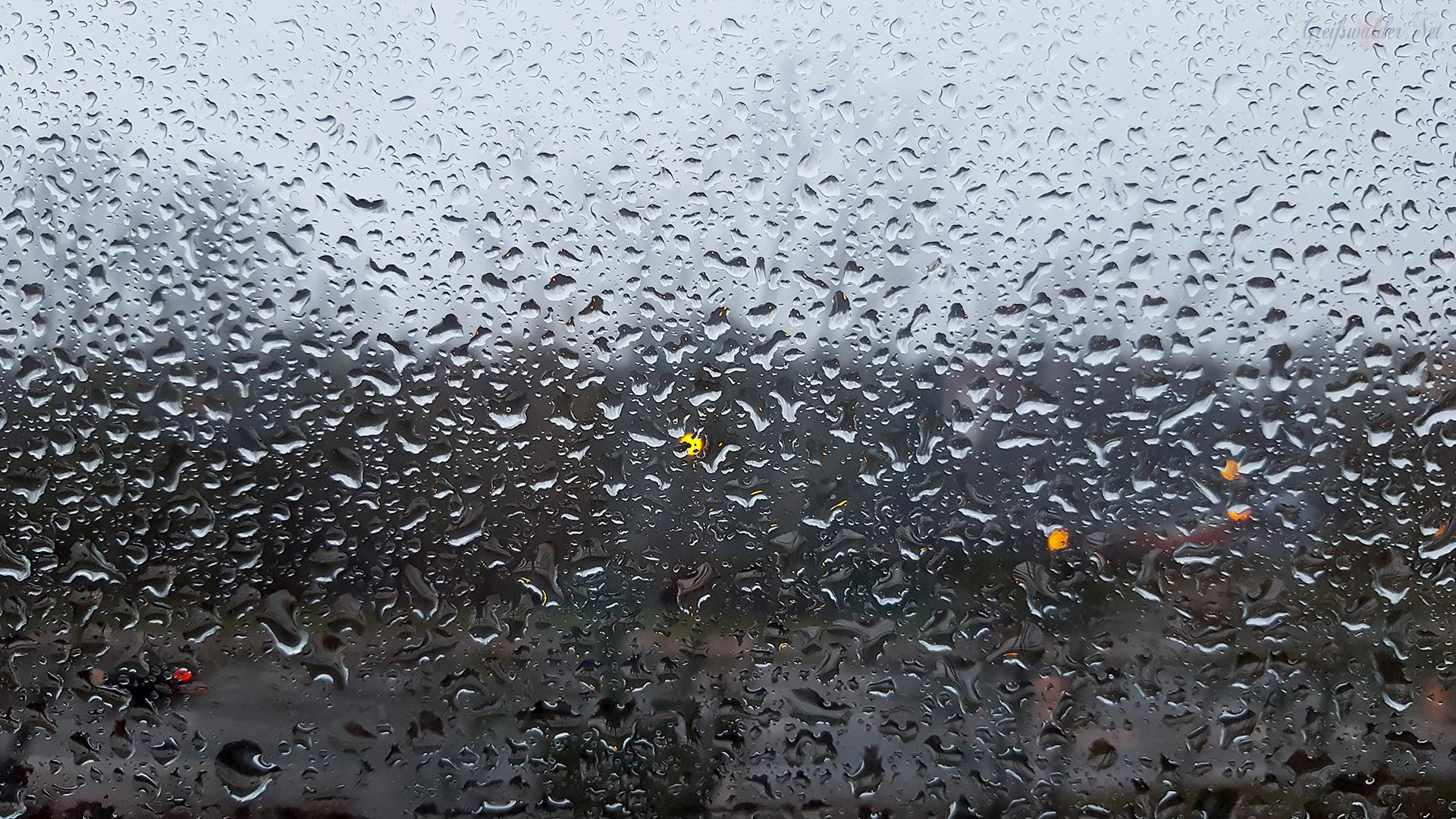 Wetter in Greifswald - Regentropfen an der Fensterscheibe