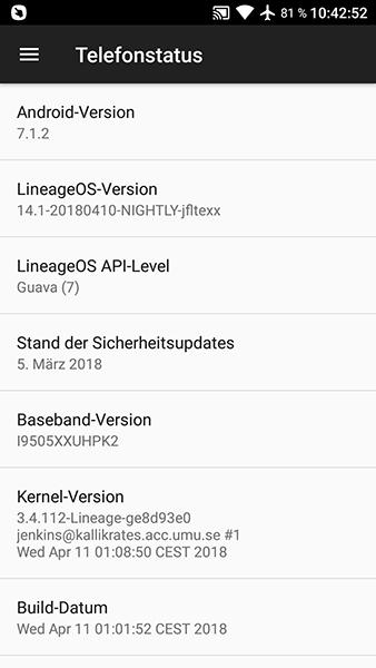 Samsung Galaxy S4 – LineageOS 14.1 – Update vom 11.04.2018
