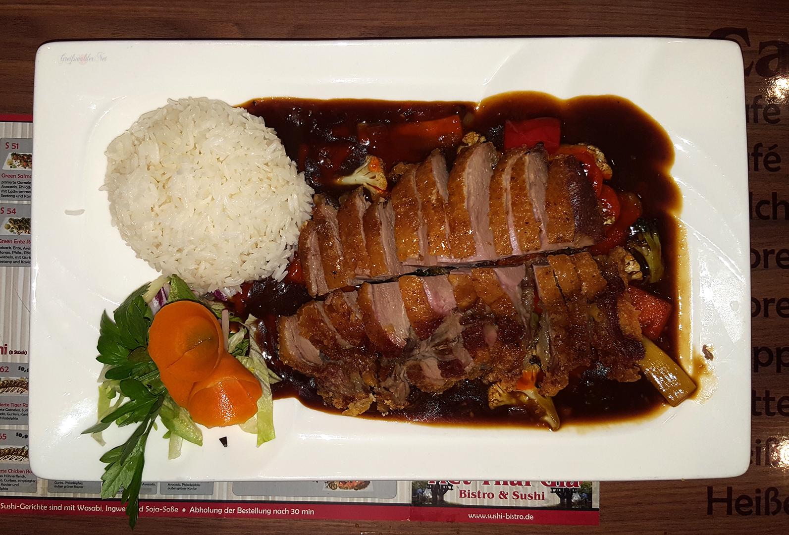 Ente mit Reis, Hoisin-Soße und versch. Gemüse