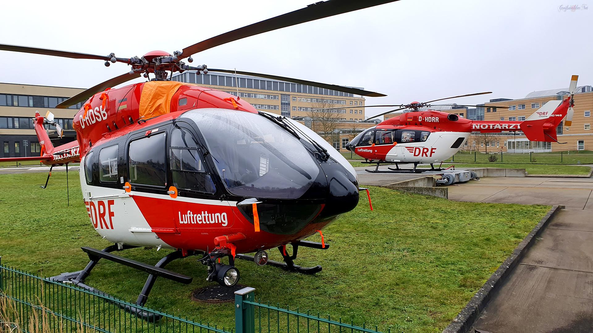 Rettungshubschrauber am Universitätsklinikum Greifswald