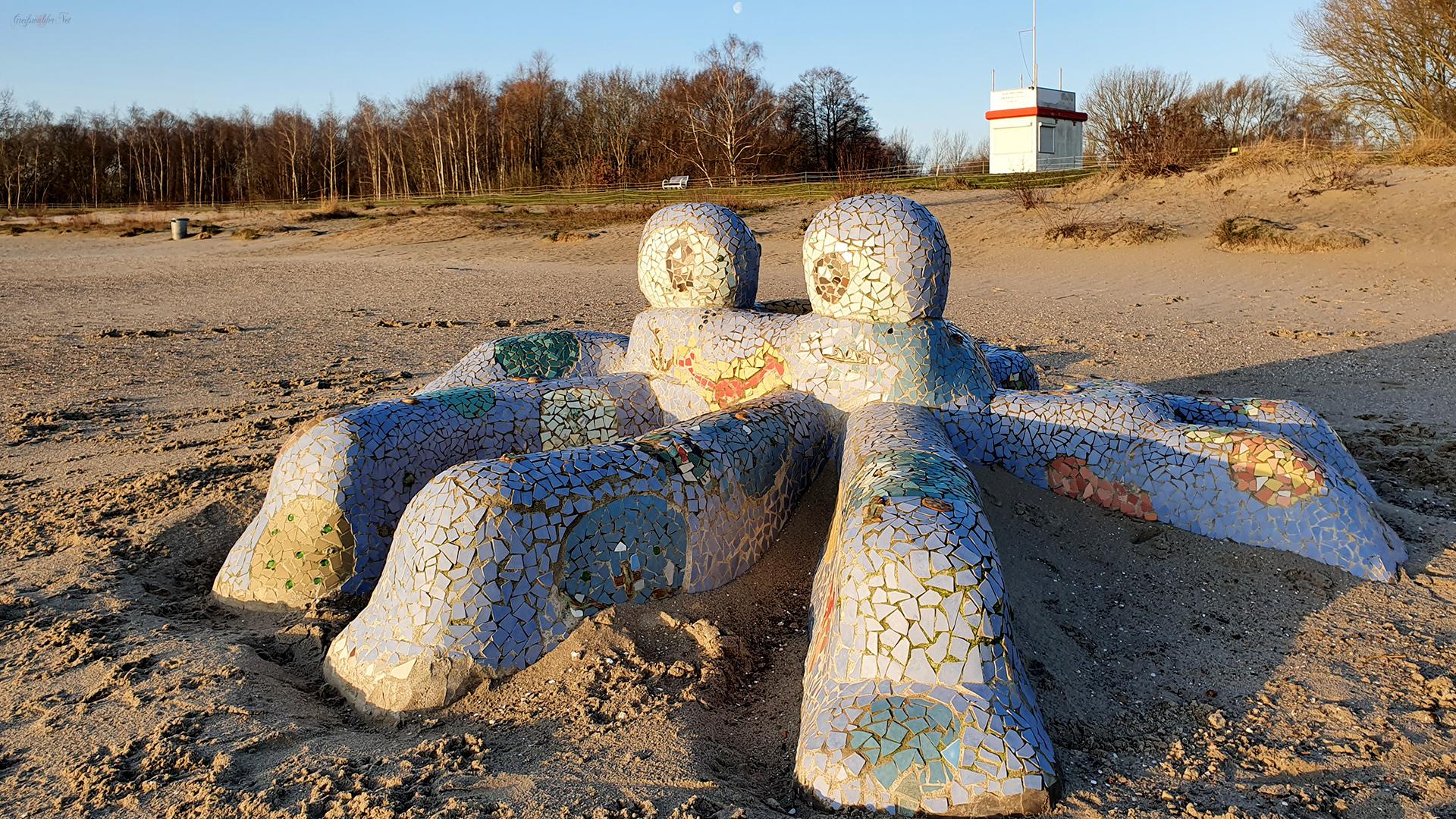 Krake Hannelore am Strand in Greifswald-Eldena