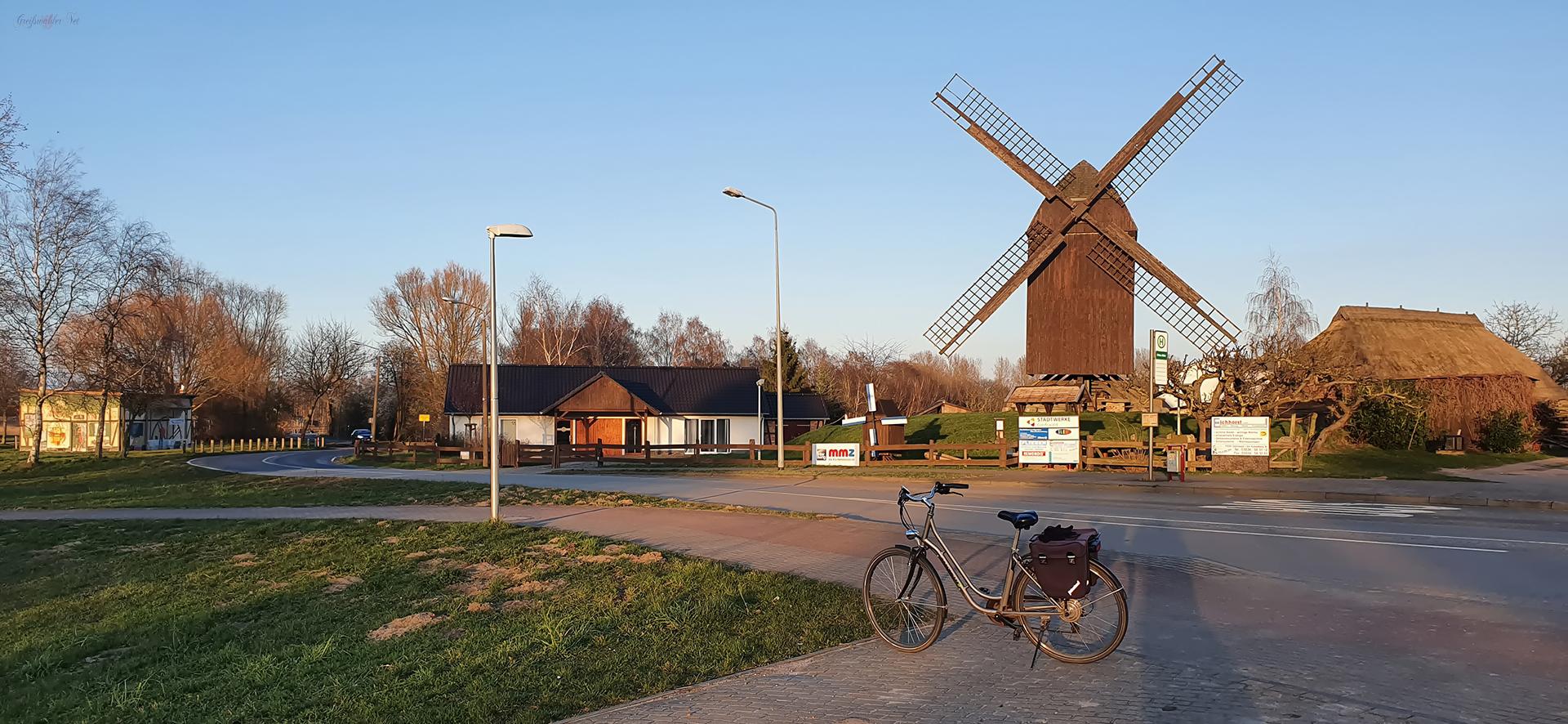 Vorfrühlingsabend an der Bockwindmühle in Greifswald-Eldena