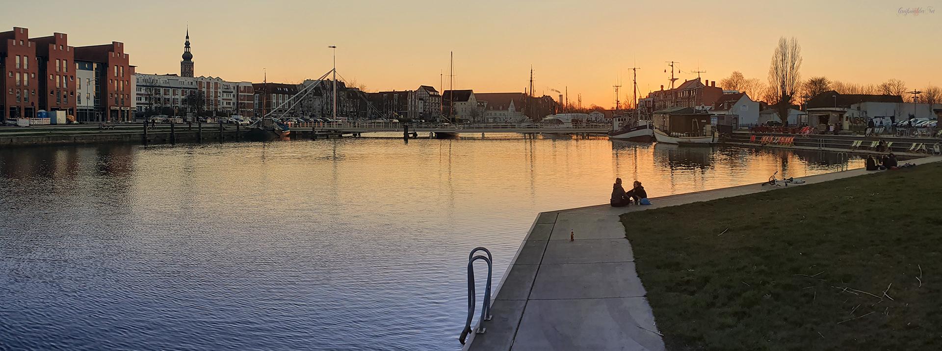 Vorfrühlingsabend am Museumshafen in Greifswald