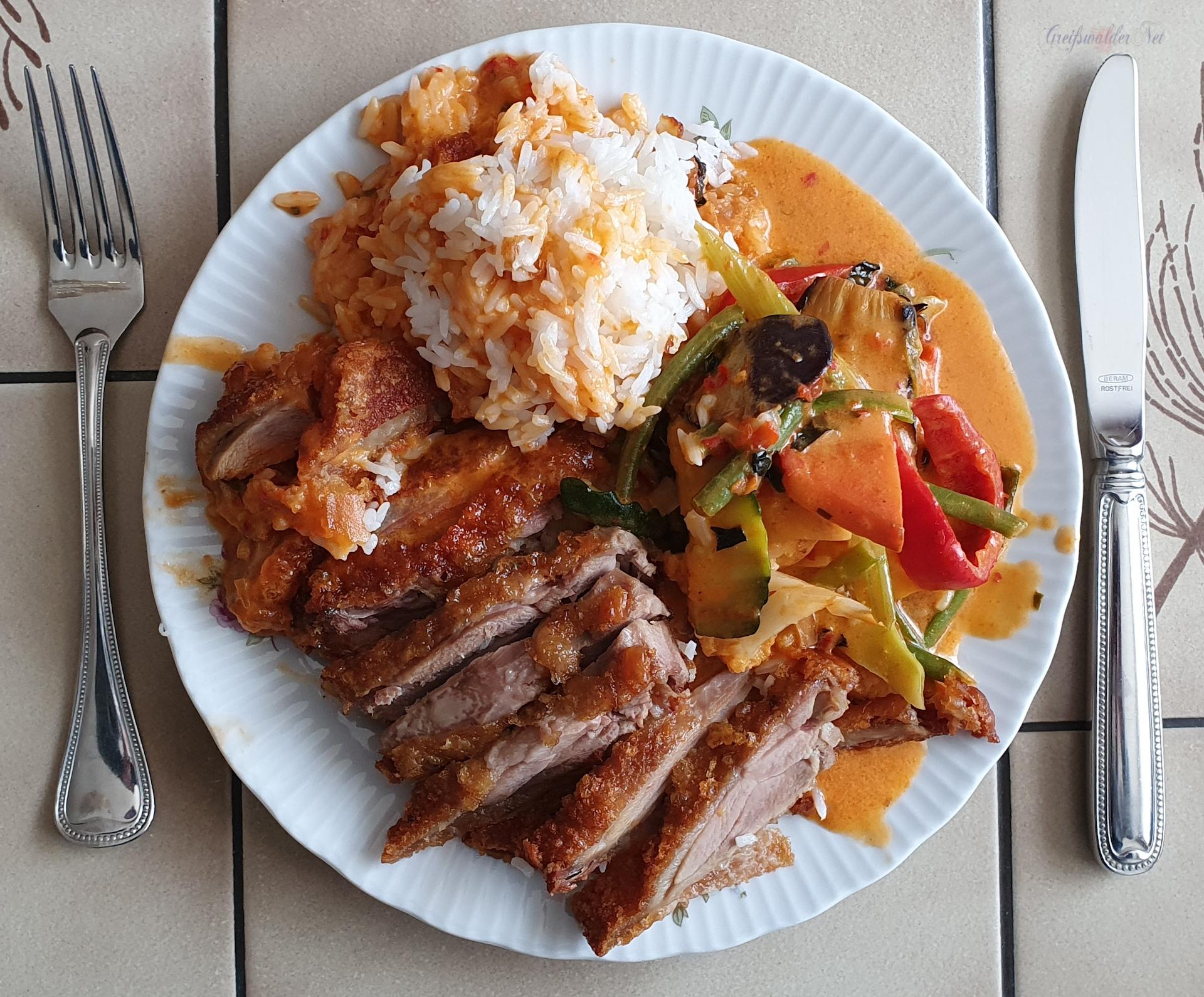 Ente mit Reis und Gemüse