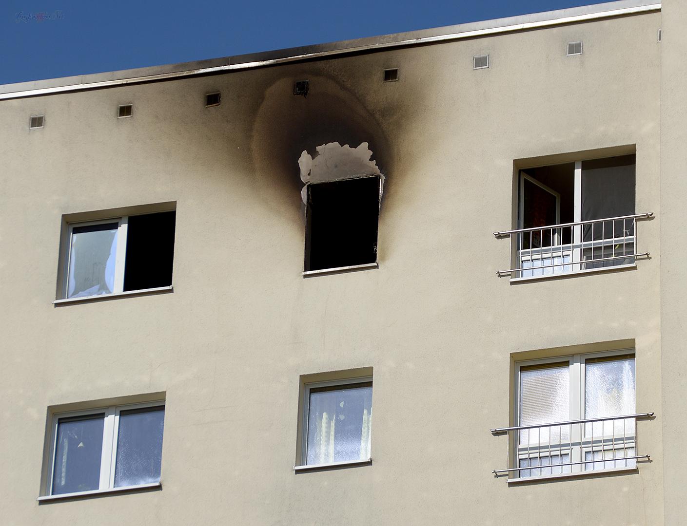 Tag nach dem Wohnungsbrand in der Lomonossowallee in Greifswald