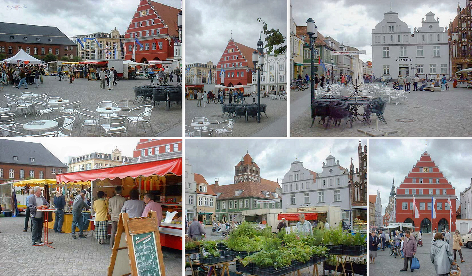 Marktplatz Greifswald im Monat Juli 2000