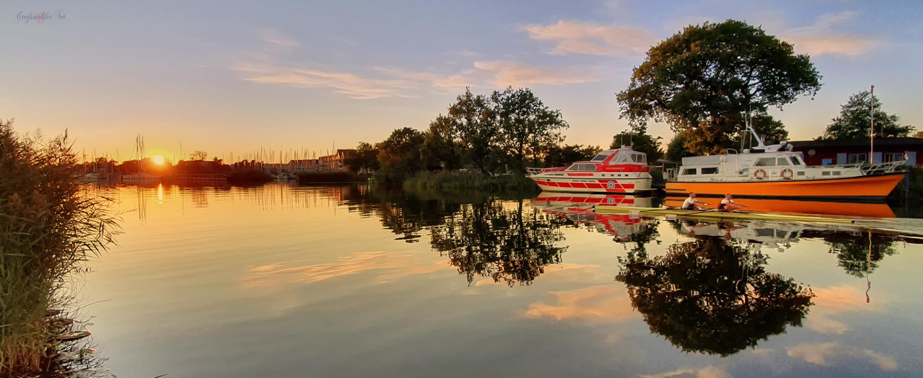 Sonnenuntergang am Ryck in Greifswald