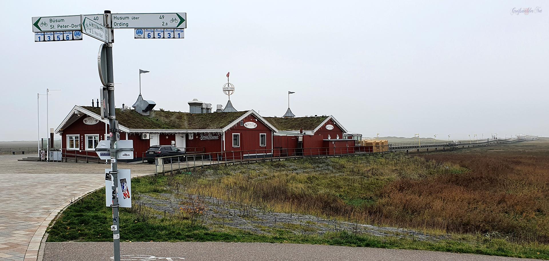 Nordseestrand von St. Peter-Ording im Herbst, Zu dieser Zeit war Ebbe an der Nordsee.