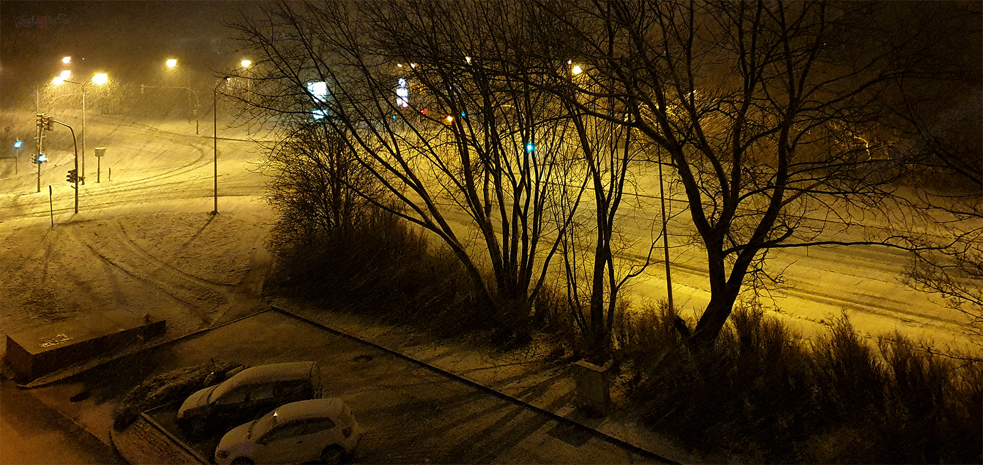 Schneefall am Abend in Greifswald
