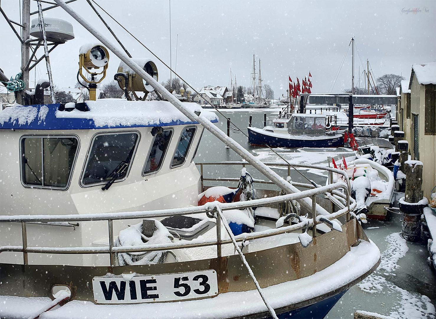 Winterruhe im Fischereihafen Greifswald-Wieck